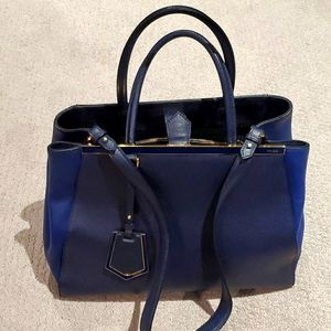 FENDI 2jours Large Tote Blue Two Tone Leather